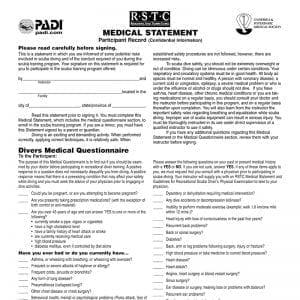 PADI Medical Form